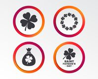 Saint Patrick day icons. Money bag with clover. Royalty Free Stock Image