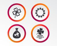 Saint Patrick day icons. Money bag with clover. Royalty Free Illustration