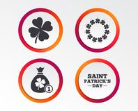 Saint Patrick day icons. Money bag with clover. Vector Illustration