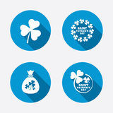 Saint Patrick day icons. Money bag with clover. Sign. Wreath of trefoil shamrock clovers. Symbol of good luck. Circle concept web buttons. Vector Stock Photos