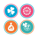 Saint Patrick day icons. Money bag with clover. Stock Photo