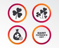 Saint Patrick day icons. Money bag with coin. Stock Illustration