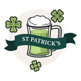 Saint Patrick day isolated icon beer or ale in mug with foam. Irish holiday beer or ale in mag with foam Saint Patrick day isolated icon vector ribbon and clover stock illustration