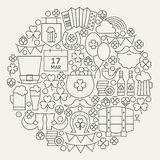 Saint Patrick Day Line Icons Set Circle Shape Royalty Free Stock Image