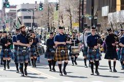 Saint Patrick day Parade. Bag pipe players in parade wearing kilts   Hartford Connecticut saint patrick day parade 2016 Stock Image