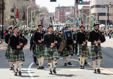 Saint Patrick day Parade. Bag pipe players in parade wearing kilts Hartford Connecticut saint patrick day parade 2016 Royalty Free Stock Images