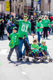 Saint Patrick day Parade. Family at st Patrick's day parade in Hartford Connecticut Stock Image