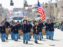 Saint Patrick day Parade. Union soldiers in parade wearing uniforms and playing fife with american flag Hartford Connecticut saint patrick day parade 2016 Stock Images