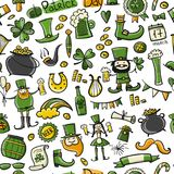 Saint Patrick Day, set icons. Seamless pattern for your design. Vector illustration Royalty Free Stock Photo