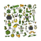 Saint Patrick Day, set icons. Sketch for your design Stock Image