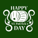 Saint Patrick day symbol of green ale beer pub barrel. Stock Image