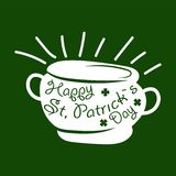 Saint Patrick day symbol of Leprechaun treasure pot and four-leaf clover leaf or lucky shamrock. Stock Image