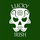 Saint Patrick day symbol of skull with mustaches and four-leaf clover leaf or lucky Irish shamrock. Stock Image