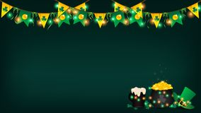 Saint Patrick festival background contain dark green. Green and yellow Royalty Free Stock Images