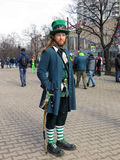 Saint Patrick festival, Moscow. Russia. Moscow. March 18, 2017. The festival of Saint Patrick at Sokolniki park. Man dressed in Pokemon costume Royalty Free Stock Photo