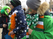 Saint Patrick festival, Moscow. Russia. Moscow. March 18, 2017. The festival of Saint Patrick at Sokolniki park. Youngster's faces painted in Irish flag Stock Image