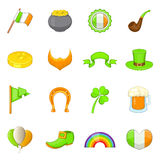 Saint Patrick items icons set, cartoon style Stock Photography