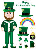 Saint Patrick Items Set_eps. Illustration of cartoon Saint Patricks Day set on white background. Happy St. Patricks Day Stock Photos