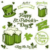 Saint Patrick lettering and illustration set. Saint Patrick lettering and illustration coloured set Stock Photography