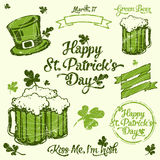 Saint Patrick lettering and illustration set Royalty Free Stock Photos
