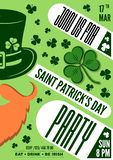 Saint Patrick party poster design, 17 March celebration invitation. Vector illustration.  stock illustration
