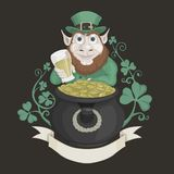 Saint Patrick with a pot of gold and beer Stock Image