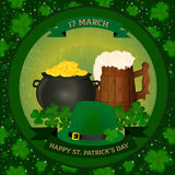 Saint Patrick`s background - pot of gold, beer mug, green hat and clover. Royalty Free Stock Photos