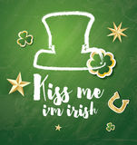 Saint Patrick`s Day Background with Clover Leaves, Horseshoe and Royalty Free Stock Image