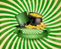 Saint Patrick's Day background with a green hat and gold coins Royalty Free Stock Photos