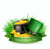 Saint Patrick`s Day background with a green hat and gold coins. In a cauldron. Vector illustration Stock Illustration