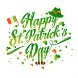 Saint Patrick s day background in green. With icons Royalty Free Stock Photo