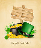 Saint Patrick's Day background with a sign, clover leaves Royalty Free Stock Images