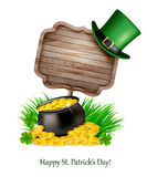 Saint Patrick's Day background with a sign, clover leaves Stock Photos