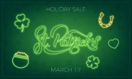 Saint Patrick`s Day. Banner design layout with neon St. Patrick`s lettering and glowing neon icons. Patrick Day sale.  Stock Photo