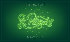 Saint Patrick`s Day. Banner design layout with neon St. Patrick`s lettering and glowing firefly particles. Patrick Day. Sale Royalty Free Stock Photos