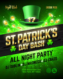 Saint Patrick`s Day bash celebration poster design Royalty Free Stock Photography