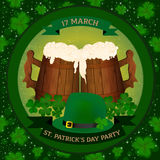 Saint Patrick`s Day beer party invitation with two wooden beer mag, clover and green hat. Royalty Free Stock Image