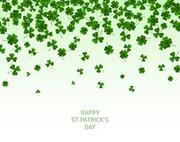 Saint Patrick`s Day Border with Green Clovers. Saint Patrick`s Day Border with Green Four and Tree Leaf Clovers on White Background. Vector illustration. Party Royalty Free Stock Images