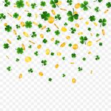 Saint Patrick`s Day Border with Green Four and Tree Leaf Clovers and gold coins on White Background. Irish Lucky and success. Symbols. Vector illustration vector illustration