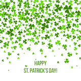 Saint Patrick s Day Border with Green Four and Tree Leaf Clovers on White Background. Vector illustration. Template Royalty Free Stock Photography