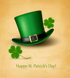Saint Patrick's Day card with clove leaf and green hat. Royalty Free Stock Photo