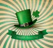 Saint Patrick's Day card with clove leaf and green hat. Royalty Free Stock Image