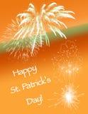 Saint Patrick's Day Card. Fireworks for Saint Patrick's Day Stock Photo