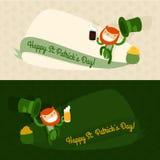 Saint patrick's day card. flat cartoon patrick template. vector illustration Stock Image