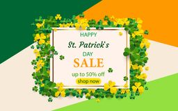 Saint Patrick`s Day card with square frame, green four and tree leaf clovers on colorful modern geometric background. Vector illu. Stration. Place for your text Royalty Free Stock Photos