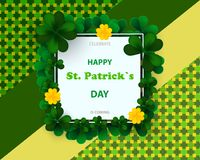 Saint Patrick`s Day card with square frame, green four and tree leaf clovers on colorful modern geometric background. Vector illu vector illustration