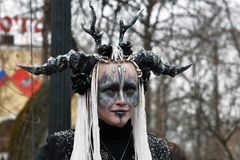 Saint Patrick`s Day celebration in Moscow. A woman in carnival costume. MOSCOW - MARCH 16, 2019: Saint Patrick`s Day celebration in Moscow. A woman in carnival stock images