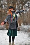 Saint Patrick`s Day celebration in Moscow. A woman in carnival costume. MOSCOW - MARCH 16, 2019: Saint Patrick`s Day celebration in Moscow. A woman in carnival royalty free stock photos