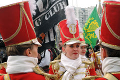 Saint Patrick`s Day celebration in Moscow. Women drummers band Royalty Free Stock Photography