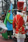 Saint Patrick`s Day celebration in Moscow. Women drummers band. MOSCOW - MARCH 18, 2017: Saint Patrick`s Day celebration in Moscow. Women drummers band in Stock Photos